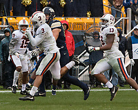 Virginia safetly Quin Blanding (3) intercepts a pass. The Pitt Panthers defeated the Virginia Cavaliers 31-14 at Heinz Field, Pittsburgh, PA on October 28, 2017.