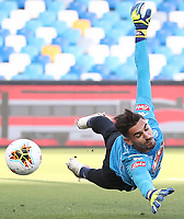 Alex Meret of Napoli warms up prior to the Serie A football match between SSC  Napoli and SPAL at stadio San Paolo in Naples ( Italy ), June 28th, 2020. Play resumes behind closed doors following the outbreak of the coronavirus disease. <br /> Photo Cesare Purini / Insidefoto
