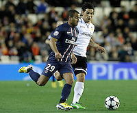 Valencia CF's Tino Costa (r) and Paris Saint-Germain's Lucas during Champions League 2012/2013 match.February 12,2013. (ALTERPHOTOS/Acero) /NortePhoto