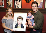 Meghan Woollard, Elliott Michael Cott and Corey Cott during the Corey Cott Sardi's Portrait unveiling at Sardi's Restaurant on August 11, 2017 in New York City.