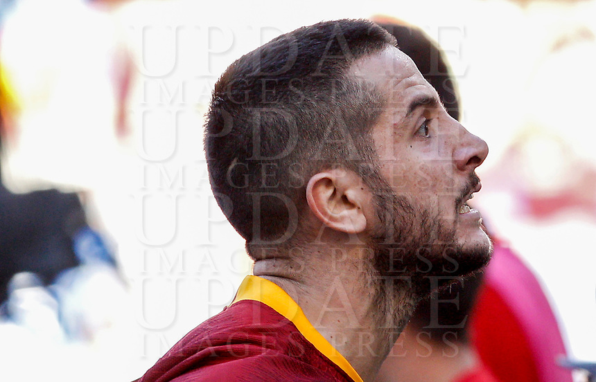 Roma's Kostas Manolas reacts during the Italian Serie A football match between Roma and Lazio at Rome's Olympic stadium, September 29, 2018. Roma won 3-1.<br /> UPDATE IMAGES PRESS/Riccardo De Luca