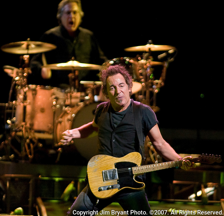 """Bruce Springsteen and the E Street Band performs """"Night"""" from his Magic Album at the Key Arena in Seattle on March 29, 2008. The band is performing 55 tour dates that span North America and Europe. Jim Bryant Photo. ©2007. All Rights Reserved."""