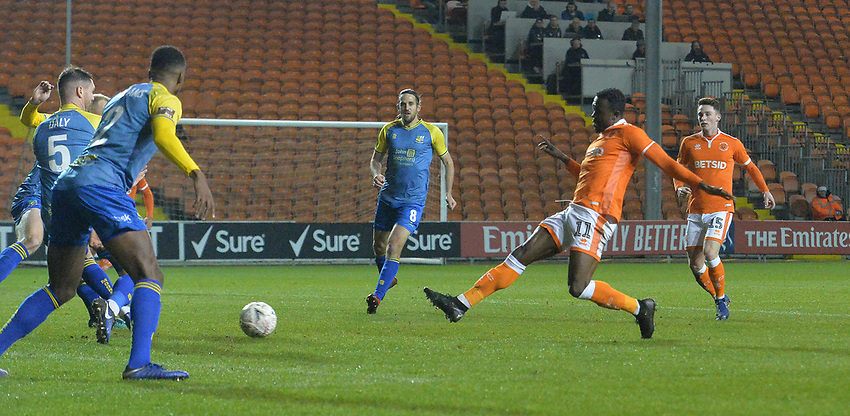 Blackpool's Joe Dodoo scores his team's 2nd goal<br /> <br /> Photographer Dave Howarth/CameraSport<br /> <br /> The Emirates FA Cup Second Round Replay - Blackpool v Solihull Moors - Tuesday 18th December 2018 - Bloomfield Road - Blackpool<br />  <br /> World Copyright © 2018 CameraSport. All rights reserved. 43 Linden Ave. Countesthorpe. Leicester. England. LE8 5PG - Tel: +44 (0) 116 277 4147 - admin@camerasport.com - www.camerasport.com