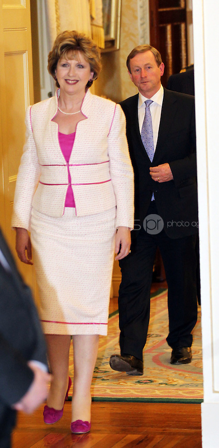 09/03/'11 President McAleese and Taoiseach Enda Kenny at Aras an Uachtarain after recieving their seals of office.. ...Picture Colin Keegan, Collins, Dublin.