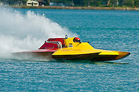 8-10 August 2008  Algonac, MI USA.John Grigg gets in some practice in his GNH class hydroplane Friday afternoon on the St.Clair River..©F.Peirce Williams 2008