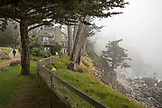 USA, California, Big Sur, Esalen, the Murphy House and the foggy coastline at the Esalen Institute