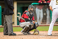 Guillermo Quiroz (6) of the Sacramento River Cats on defense against the Salt Lake Bees in Pacific Coast League action at Smith's Ballpark on April 17, 2015 in Salt Lake City, Utah.  (Stephen Smith/Four Seam Images)