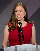 Chelsea Clinton introduces her mother during the fourth session of the 2016 Democratic National Convention at the Wells Fargo Center in Philadelphia, Pennsylvania on Thursday, July 28, 2016.<br /> Credit: Ron Sachs / CNP<br /> (RESTRICTION: NO New York or New Jersey Newspapers or newspapers within a 75 mile radius of New York City)