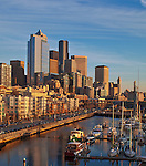 Seattle, WA   <br /> Seattle waterfront at the Bell Street Harbor Marina and city skyline