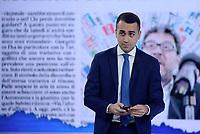 Roma, 23 Maggio 2019<br /> Luigi Di Maio davanti allo schermo con Giancarlo Giorgetti.<br /> il Movimento 5 Stelle a L'Aria Che Tira