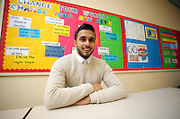 Pictured: Juhel Miah at the school where he teaches in Neath, Wales, UK. Tuesday 21 February 2017<br /> Re: A Muslim teacher denied entry to the United States while on a school.<br /> Juhel Miah, 25, had flown to Reykjavik, Iceland, with the party from Llangatwg Community School in Aberdulais, Neath, before boarding an onward flight to New York on 16 February.<br /> But before the plane took off he was escorted off by security staff.