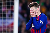 30th January 2019, Camp Nou, Barcelona, Spain; Copa del Rey football, quarter final, second leg, Barcelona versus Sevilla; Gerard Pique of FC Barcelona frustrated after missing the crossed ball during a corner