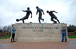 Dany Verlinden with his son Thibaud Verlinden in front of the Sir Stanley Matthews statue at the Britannia Stadium -  Football - Barclays Premier League - Stoke City