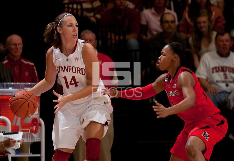 STANFORD, CA - November 14, 2010: Kayla Pedersen during a basketball game against Rutgers at Stanford University in Stanford, California. Stanford won 63-50.