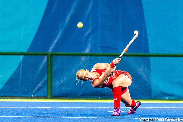Lauren Crandall #27 of United States launches an aerial pass from deep in her half during Argentina vs USA in a Pool B game at the Rio 2016 Olympics at the Olympic Hockey Centre in Rio de Janeiro, Brazil.