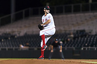 Scottsdale Scorpions relief pitcher Austin Orewiler (75), of the Cincinnati Reds organization, delivers a pitch during an Arizona Fall League game against the Surprise Saguaros at Scottsdale Stadium on October 15, 2018 in Scottsdale, Arizona. Surprise defeated Scottsdale 2-0. (Zachary Lucy/Four Seam Images)