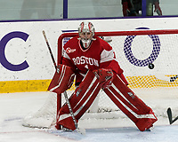 WORCESTER, MA - FEBRUARY 08: Kate Stuart #1 of Boston University during a game between Boston University and College of the Holy Cross at Hart Center Rink on February 08, 2020 in Worcester, Massachusetts.