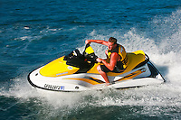 An Active Male Riding A Seadoo In The Pacific Ocean Around The Dana Point Bluffs