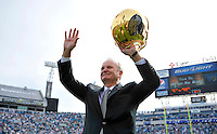 Jacksonville Jaguars owner raises his gold Jaguars helmet and waves goodbye to the fans at the conclusion of a halftime tribute in his final game as owner of the franchise during the Jags 19-13 victory over the Indianapolis Colts Sunday January 1, 2012 at EverBank Field in Jacksonville, Fl.  (Rick Wilson/Jaguars.com)