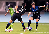 10th July 2020, Orlando, Florida, USA;  San Jose Earthquakes midfielder Jackson Yueill (14) passes the ball During the MLS Is Back Tournament between the Seattle Sounders v San Jose Earthquakes on July 10, 2020 at the ESPN Wide World of Sports, Lake Buena Vista FL.