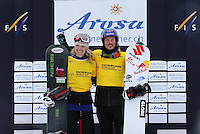 09.03.2013. Arosa, Switzerland.  FIS World Cup Boarders Cross Snowboard Cross SBX men women Award Ceremony Picture shows Dominique Maltais CAN and Alex Pullin Aus