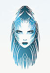 Female face with blue hair