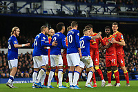 23rd  November 2019; Goodison Park , Liverpool, Merseyside, England; English Premier League Football, Everton versus Norwich City; the Everton and Norwich players jostle for position prior to a Norwich corner kick  - Strictly Editorial Use Only. No use with unauthorized audio, video, data, fixture lists, club/league logos or 'live' services. Online in-match use limited to 120 images, no video emulation. No use in betting, games or single club/league/player publications