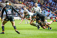 5th January 2020; Ricoh Arena, Coventry, West Midlands, England; English Premiership Rugby, Wasps versus Northampton Saints; Tom Wood of Northampton Saints pushes for the try line - Editorial Use