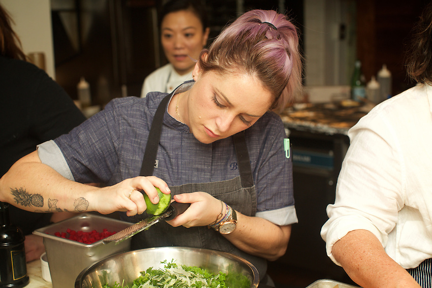 NEW YORK, NY - February 27, 2017: The Women Chef Rule dinner, presented by Women Chefs &amp; Restaurateurs and The James Beard Foundation, featured chefs Amanda Cohen, Renee Erickson, Niki Nakayama, Nicole Pederson, Brooke Williamson and Michelle Gayer at The James Beard House in Greenwich Village.<br />  <br /> Credit: Clay Williams for The James Beard Foundation.<br /> <br /> &copy; Clay Williams / http://claywilliamsphoto.com