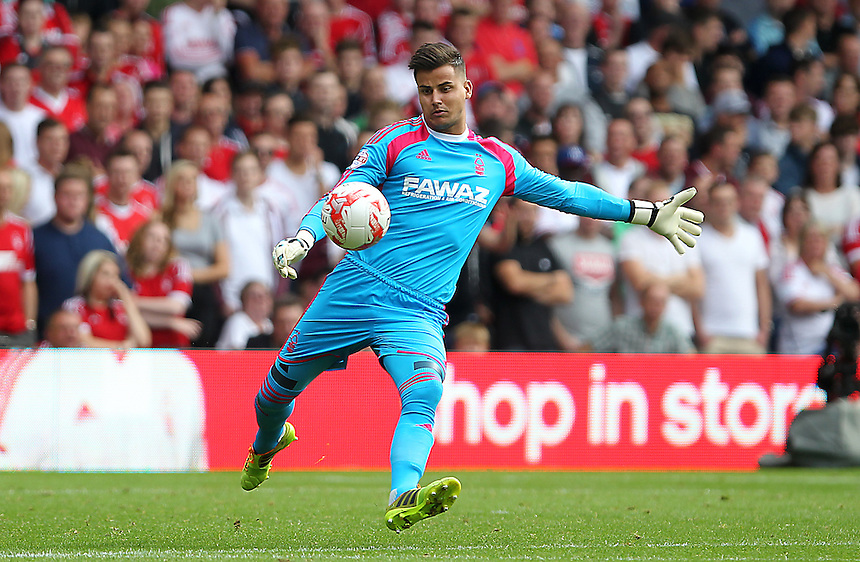 Nottingham Forest's Karl Darlow<br /> <br /> Photographer Mick Walker/CameraSport<br /> <br /> Football - The Football League Sky Bet Championship - Nottingham Forest v Derby County - Sunday 14th September 2014 - The City Ground - Nottingham<br /> <br /> &copy; CameraSport - 43 Linden Ave. Countesthorpe. Leicester. England. LE8 5PG - Tel: +44 (0) 116 277 4147 - admin@camerasport.com - www.camerasport.com