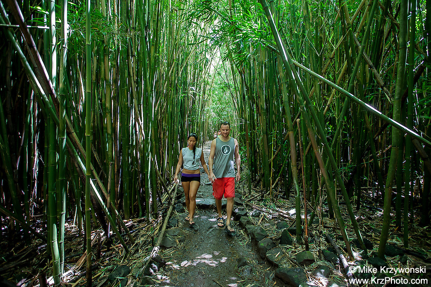 A couple walking in a bamboo forest along the Pipiwai hiking trail on Maui