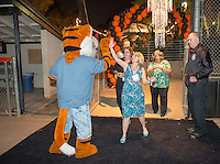 Alumni enjoy the Throwback Bash, featuring Journey Unauthorized, in the Tiger Tent on Bell Field. The reception was part of Occidental College's annual Alumni Reunion, Friday, June 12, 2015.<br /> (Photo by Marc Campos, Occidental College Photographer)