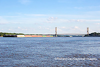 65095-02308 Barge on Mississippi River and Bill Emerson Memorial Bridge Cape Girardeau, MO