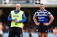 Allan Ryan and Max Lahiff of Bath Rugby look on. Gallagher Premiership match, between Bath Rugby and Wasps on May 5, 2019 at the Recreation Ground in Bath, England. Photo by: Patrick Khachfe / Onside Images