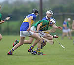Ahane Paul O'Halloran &amp; Patrickswell Diarmuid Byrne &amp; Nigel Foley in action during their Senior Hurling Championship Round 1 Game played in Bruff Co.Limerick.<br /> Pictured Credit Brian Gavin Press 22
