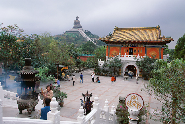 Monastery of Po Lin has a big Buddha (88ft) built in 1990 Lantau Is. Hong Kong