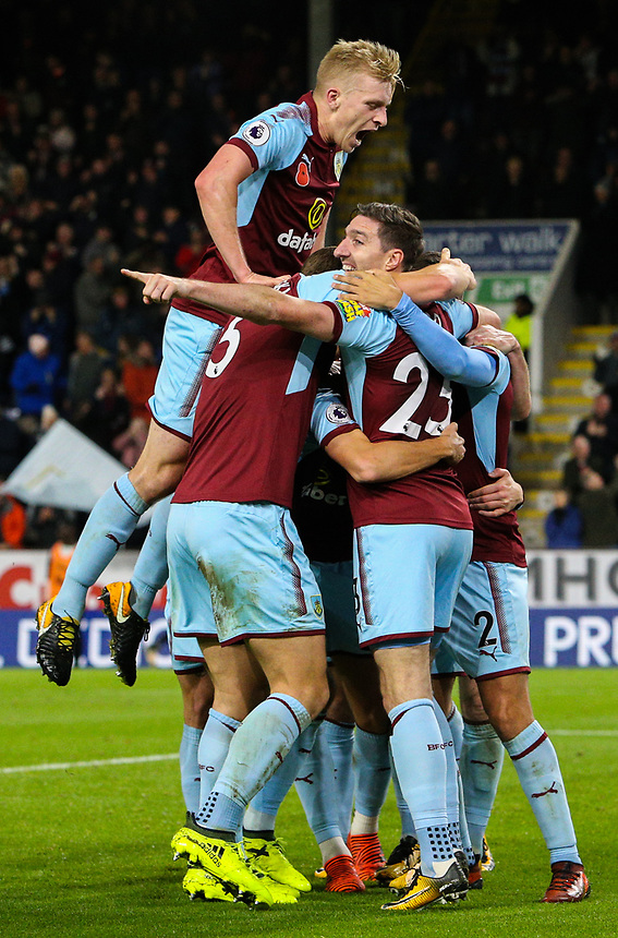 Burnley players celebrate Jeff Hendrick's goal<br /> <br /> Photographer Alex Dodd/CameraSport<br /> <br /> The Premier League - Burnley v Newcastle United - Monday 30th October 2017 - Turf Moor - Burnley<br /> <br /> World Copyright &copy; 2017 CameraSport. All rights reserved. 43 Linden Ave. Countesthorpe. Leicester. England. LE8 5PG - Tel: +44 (0) 116 277 4147 - admin@camerasport.com - www.camerasport.com