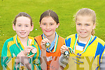 The Gold, Silver and Bronze medal winners in the girls 100m at the County National Schools athletics finals in Castleisland On Saturday Ciara Hudson Moyvane NS 3rd, Fiona Doyle Cullina NS Beaufort 1st and Me?abh McElligott Balloonagh NS Tralee 2nd ..
