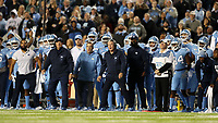CHAPEL HILL, NC - NOVEMBER 02: Head coach Mack Brown of the University of North Carolina reacts on the sideline during a game between University of Virginia and University of North Carolina at Kenan Memorial Stadium on November 02, 2019 in Chapel Hill, North Carolina.