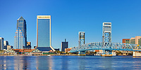 View of the Bank of America and Wells Fargo skyscrapers and the Main Street bridge in downtown Jacksonville