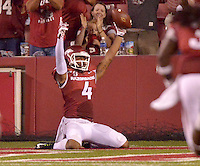 STAFF PHOTO BEN GOFF  @NWABenGoff -- 09/20/14 <br /> Arkansas wide receiver Keon Hatcher celebrates after catching a pass to score during the fourth quarter of the game against Northern Illinois in Reynolds Razorback Stadium in Fayetteville on Saturday September 20, 2014.