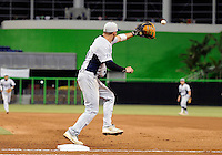 Florida International University infielder/outfielder Adam Kirsch (10) plays against the Miami Marlins, which won the game 5-1 on March 7, 2012 at Miami, Florida. .