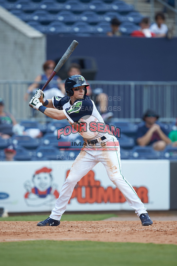 Drew Waters (11) of the Gwinnett Stripers at bat against the Scranton/Wilkes-Barre RailRiders at Coolray Field on August 18, 2019 in Lawrenceville, Georgia. The RailRiders defeated the Stripers 9-3. (Brian Westerholt/Four Seam Images)