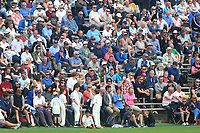 Spectators look on from the terrace during Yorkshire CCC vs Essex CCC, Specsavers County Championship Division 1 Cricket at Scarborough CC, North Marine Road on 7th August 2017