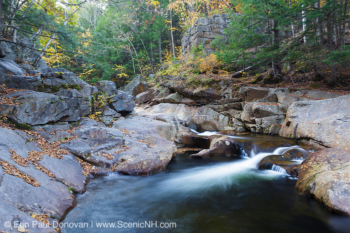 Eastman Brook in Woodstock, New Hampshire during the autumn months. This is the site of the 1800s Baston's Mill (the old Fox's Mill site).