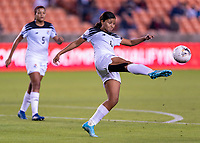 HOUSTON, TX - JANUARY 28: Hilary Jaen #4 of Panama clears the ball during a game between Costa Rica and Panama at BBVA Stadium on January 28, 2020 in Houston, Texas.