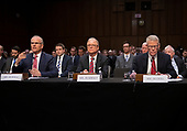 """From left to right: Daniel Elwell, Acting Administrator, Federal Aviation Administration (FAA); Calvin Scovel, Inspector General, Department of Transportation; and Robert Sumwalt, Chairman, National Transportation Safety Board (NTSB), testify before the United States Senate Committee on Commerce, Science, and Transportation Subcommittee on Aviation and Space, during a hearing titled, """"The State of Airline Safety: Federal Oversight of Commercial Aviation"""" to examine problems with the Boeing 737 Max aircraft highlighted by the two recent fatal accidents.<br /> Credit: Ron Sachs / CNP"""