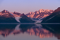 Sunrise on Surprise and Cataract glacier, Harriman Fjord, Prince William Sound, Alaska.