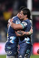25th July 2020, Christchurch, New Zealand;  Ben Lam of the Hurricanes and DuPlessis Kirifi of the Hurricanes celebrates  winning the Super Rugby Aotearoa, Crusaders versus Hurricanes at Orangetheory stadium, Christchurch