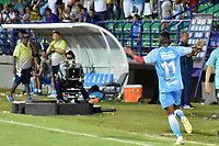 MONTERIA - COLOMBIA, 06-08-2018: Mauricio Cortes jugador de Jaguares de Córdoba celebra después de anotar el segundo gol de su equipo a Leones F.C. durante partido por la fecha 3 de la Liga Águila II 2018 jugado en el estadio Municipal de Montería. / Mauricio Cortes player of Jaguares of Cordoba celebrates after scoring the second goal of his team to Leones F.C. during a match for the date 3 of the Liga Aguila II 2018 at the Municipal de Monteria Stadium in Monteria city. Photo: VizzorImage / Andres Felipe Lopez / Cont